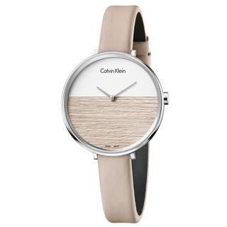 RISE TWO-TONE DIAL GOLD LEATHER STRAP LADIES' WATCH K7A231XH