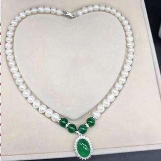 Pearl Jadeite Pendant Necklace