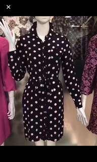 Authentic Chic DVF polka dot silk shirt dress