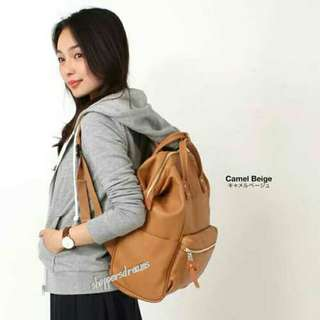 Anello Backpack PU Leather Large AT-B1211 - Camel Beige