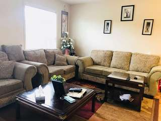 3 piece sofa set with 2 coffee tables and carpet
