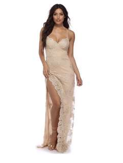 Nude/Gold detailing Prom Dress (size small) with slit