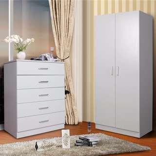 1*2 doors haning wardrobe +1* 5 drawers tallboy package for sale