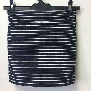 (SALE) Miss Selfridge Black White Stripe Skirt Bodycon Bandage Right Hugging