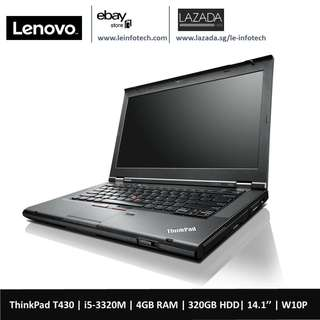 🚚 Lenovo ThinkPad T430 Notebook i5-3320M#2.6Ghz 4GB DDR3 320GB HDD WIN10 Pro 14in Warranty Used
