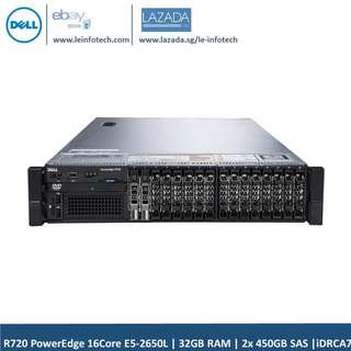 🚚 Dell PowerEdge R720 Rack Server 2 x E5-2650L #1.8GHz eight-Core 32GB DDR3 2 x 450GB SAS HDD PERC H310 iDRAC7 Enterprise Support to 12x 2.5'' HDD Warranty