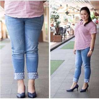 Jeans mutiara roll up new size 34