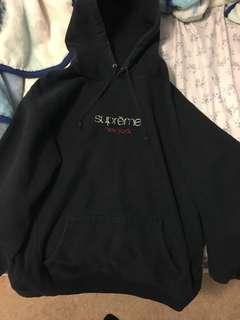 Navy blue supreme hoodie