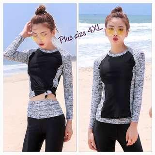 In Stock 💕4XL Plus size Korean version of UV Rash Guard,  Swimsuit, Swimwear, Beach Wear, Snorkel Wetsuit, jellyfish wetsuit , Sport wear