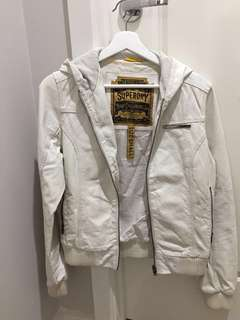 Women's superdry white leather jacket