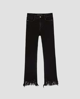 Zara high rise cropped flare jeans