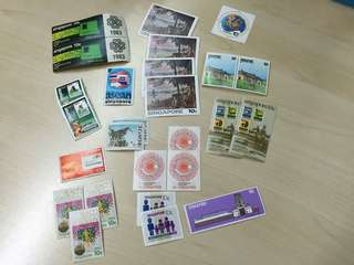 Old Stamps of Singapore -28 pieces, all 10 cts denomination, of unused stamps