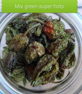 Mixed dried green super hot pepers 5 gram