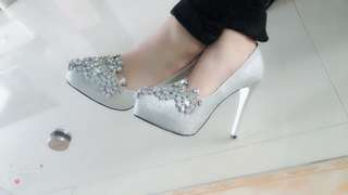 銀色閃閃結婚高跟鞋