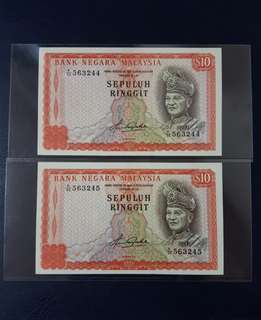 🇲🇾 *UNC* Malaysia 4th Series RM10 Banknote~2pcs Consecutive Pair