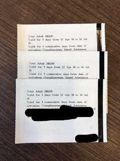 3 x Sentosa tickets