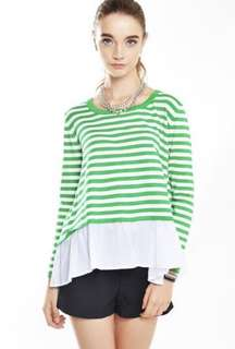 Love & Bravery Horizons Stripe Layered Top in Green