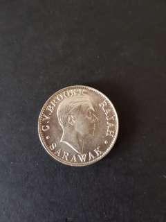 1927 SARAWAK 20 Sen SILVER COIN