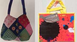 2 bags bundle sale - PVC reusable, fabric embroidered