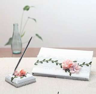 Solemnization pen holder and guest book