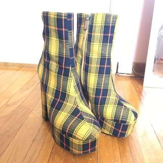 Yellow Plaid Heel Platform Booties