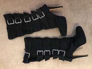 Black suede buckled boots - Wittner - worn twice