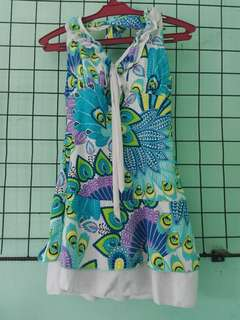 Colorful Floral Blue Printed One Piece Swimwear/Swimsuit