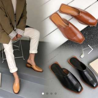Instock Square Head Leather Mules Ulzzang