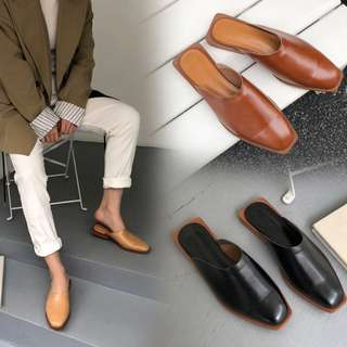 PO Square Head Leather Mules Ulzzang