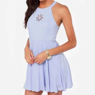 Baby Blue Sleeveless Skater Dress