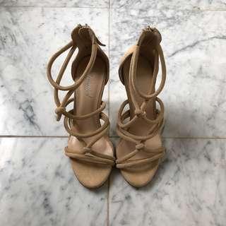 Nude strap heels