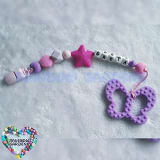Handmade Customized Pacifier Clip with letter beads + Purple Butterfly teether