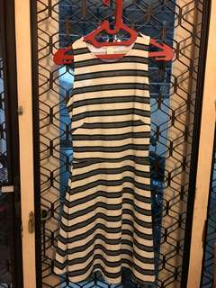 Long dress stript black and white
