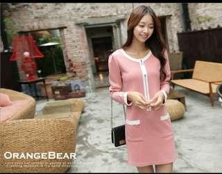 轉賣 OB嚴選 粉色小香風格洋裝 XL號 200很新