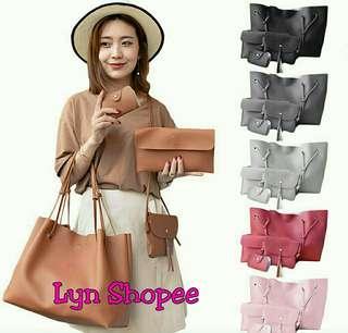 4in1 Korean Leather Tote Shoulder Bag