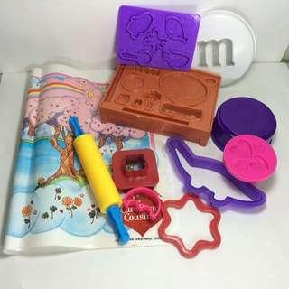 Mixed Play doh Clay tools