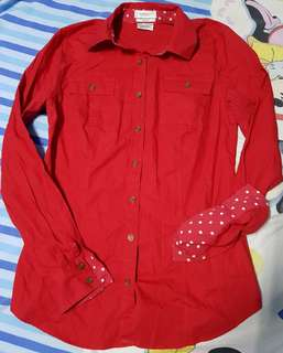 Van Heusen Red Longsleeved Buttondown shirt /polo
