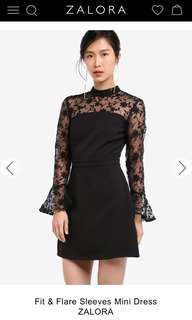Fit and flare sleeves dress (XL)
