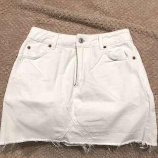 Topshop white denim skirt