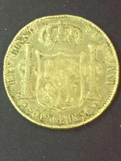 Spain 50 pesos year 1885, VG , Silver Coin