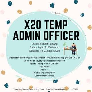 X20 Temp Admin Officer