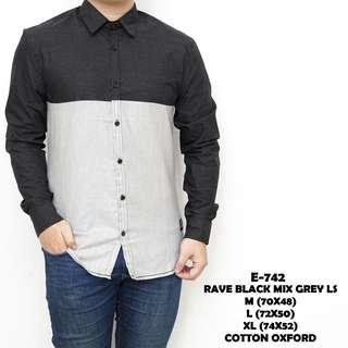 Baju Formal Pria Hitam Polos Murah Rave Black Mix Grey E742