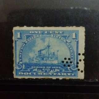 [lapyip1230] 美國國内印花税票 1898年 壹仙 蒸氣火船 舊票 VFU