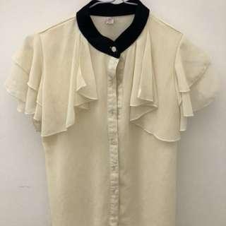 🚚 極美韓系白色雪紡襯衫(s-m)