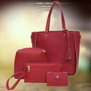 4 in 1 korean bag maroon
