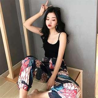 Printed high waist Heram pants / plain / basic sleeveless top