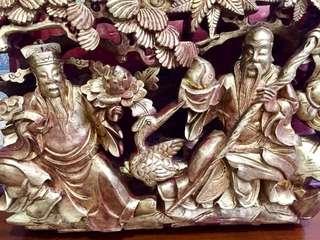 Antique Fu Shou Wood Panel