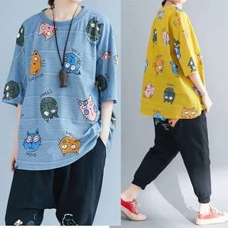 PO Cat Expressions Print Loose Tee