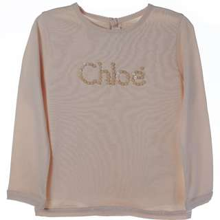 Chloe Long Sleeve T-shirt with Buttons beaded logo