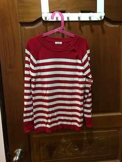 🚚 Jis紅白條紋針織上衣